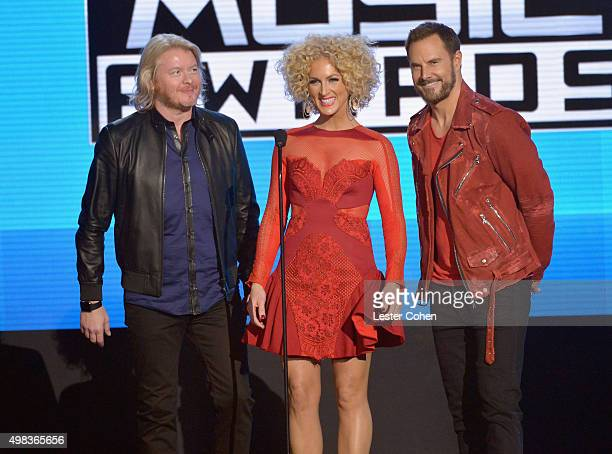Musicians Philip Sweet Kimberly Schlapman and Jimi Westbrook of Little Big Town speak onstage during the 2015 American Music Awards at Microsoft...