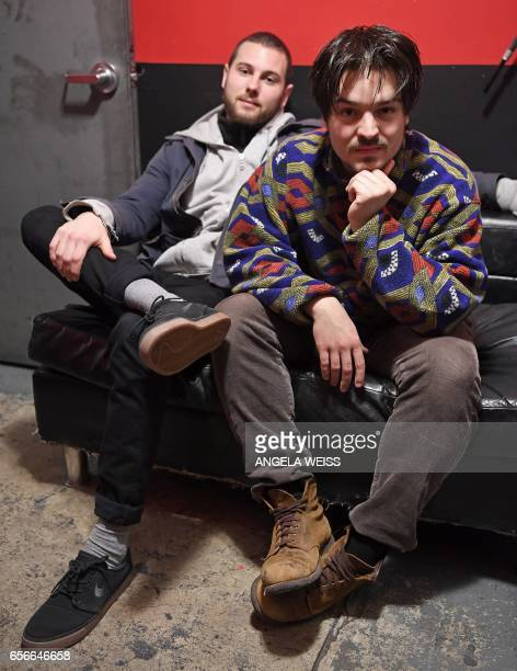 Musicians Philipp Dausch and Clemens Rehbein of Milky Chance pose backstage at Le Poisson Rouge on March 17 2017 in New York Barely out of school two...