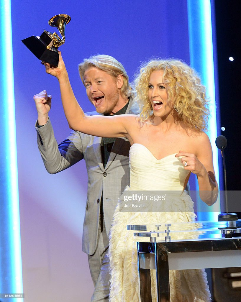 Musicians Phillip Sweet and Kimberly Schlapman of Little Big Town accepts an award onstage during the 55th Annual GRAMMY Awards at Nokia Theatre L.A. Live on February 10, 2013 in Los Angeles, California.