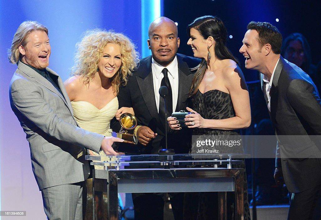 Musicians Phillip Sweet and Kimberly Schlapman of Little Big Town, actor David Alan Grier, and musicians Karen Fairchild and Jimi Westbrook of Little Big Town speak onstage during the 55th Annual GRAMMY Awards at Nokia Theatre L.A. Live on February 10, 2013 in Los Angeles, California.