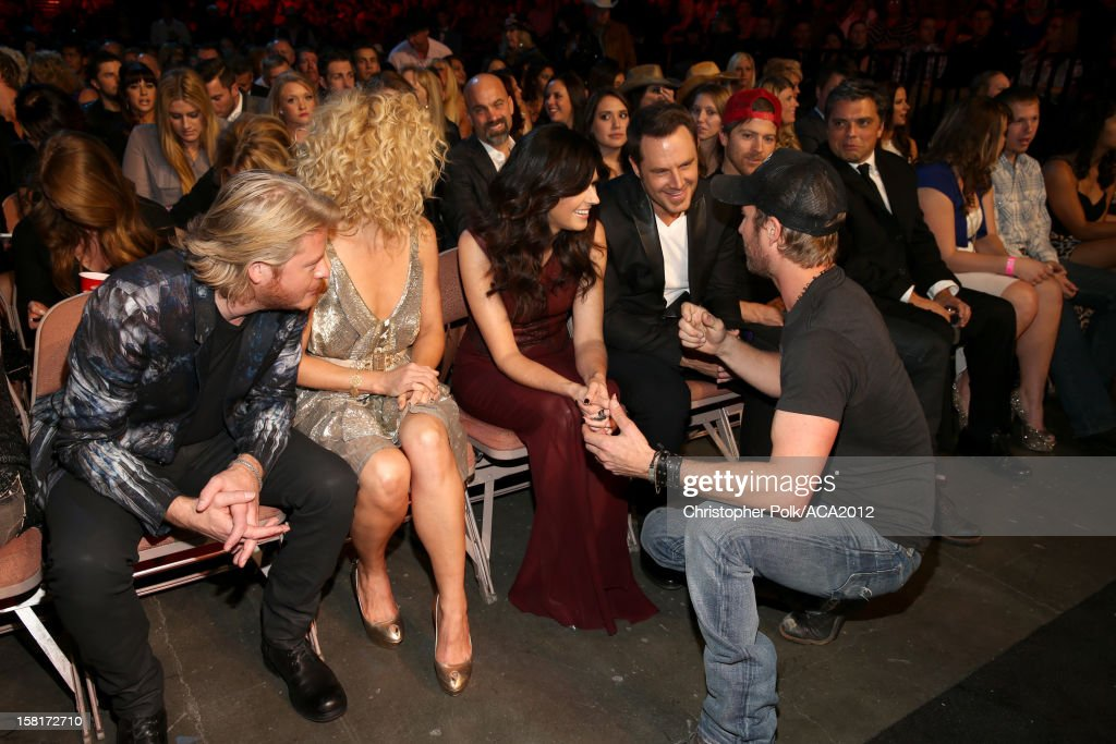 Musicians Phillip Sweet, Kimberly Roads Schlapman, Karen Fairchild and Jimi Westbrook of Little Big Town and singer Dierks Bentley attend the 2012 American Country Awards at the Mandalay Bay Events Center on December 10, 2012 in Las Vegas, Nevada.