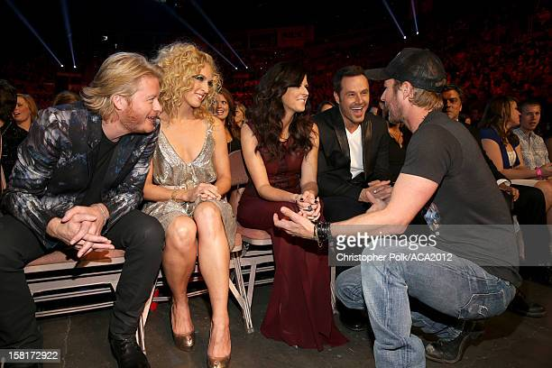 Musicians Phillip Sweet Kimberly Roads Schlapman Karen Fairchild and Jimi Westbrook of Little Big Town and singer Dierks Bentley attend the 2012...