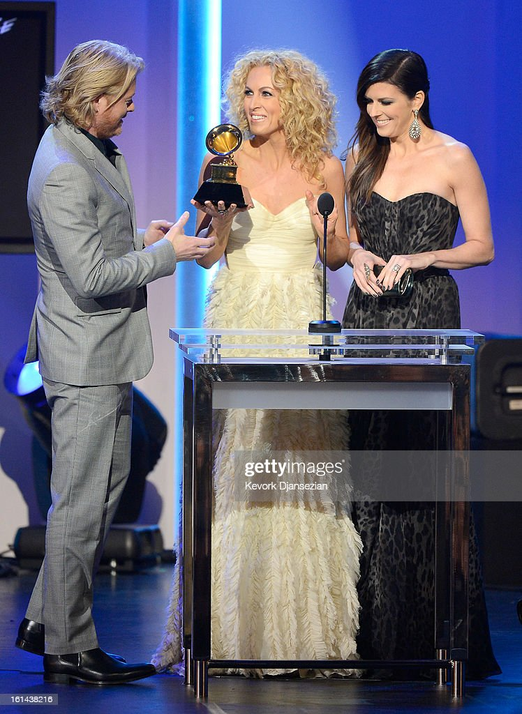 Musicians Phillip Sweet, Kimberly Schlapman, and Karen Fairchild of the group Little Big Town, winners of Best Country Duo/Group Performance, onstage at the The 55th Annual GRAMMY Awards at Nokia Theatre on February 10, 2013 in Los Angeles, California.