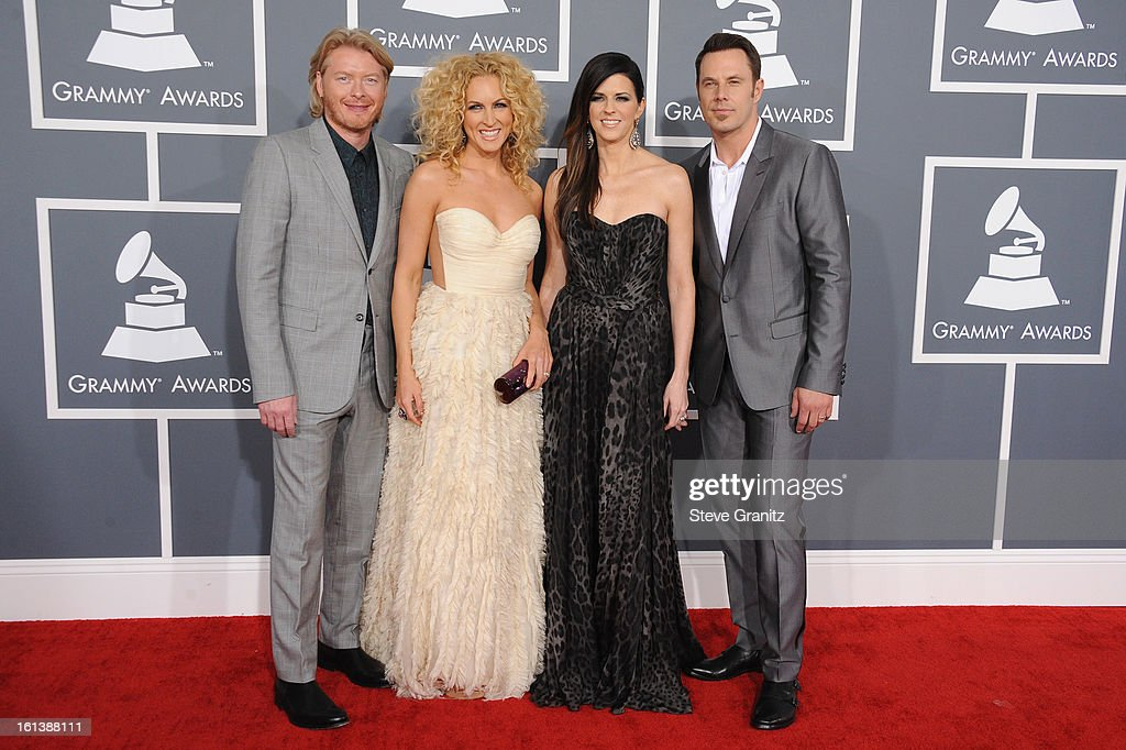 Musicians Phillip Sweet, Kimberly Schlapman, Karen Fairchild and Jimi Westbrook of 'Little Big Town' attend the 55th Annual GRAMMY Awards at STAPLES Center on February 10, 2013 in Los Angeles, California.