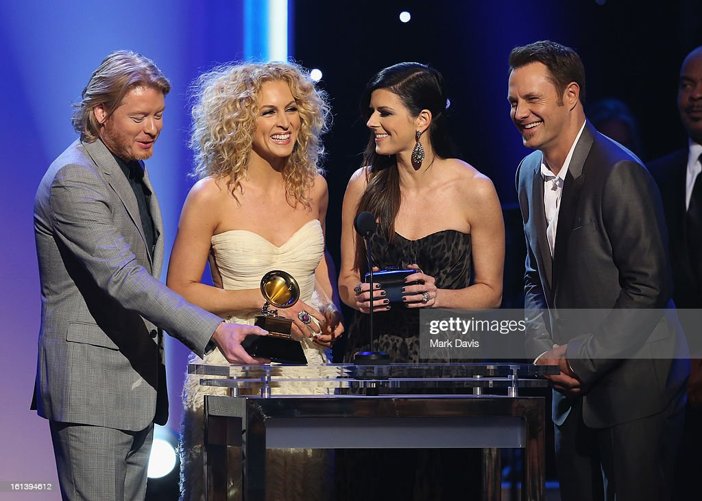Musicians Phillip Sweet, Kimberly Schlapman, Karen Fairchild and Jimi Westbrook of 'Little Big Town speak onstage during the 55th Annual GRAMMY Awards Pre-Telecast at Nokia Theatre L.A. Live on February 10, 2013 in Los Angeles, California.