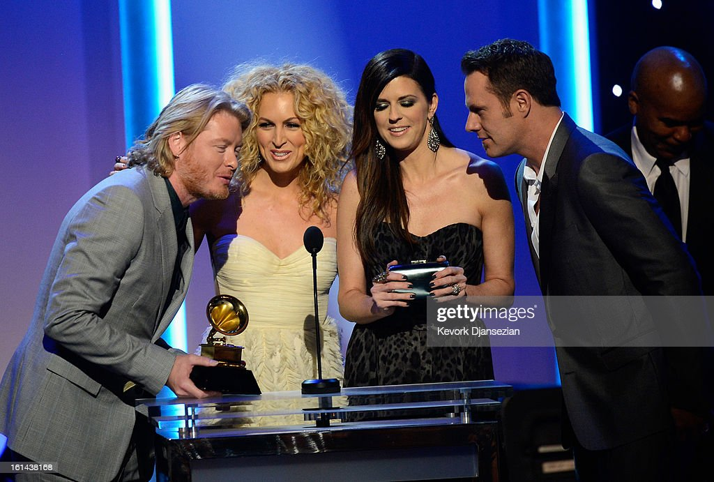Musicians Phillip Sweet, Kimberly Schlapman, Karen Fairchild, and Jimi Westbrook of the group Little Big Town, winners of Best Country Duo/Group Performance, onstage at the The 55th Annual GRAMMY Awards at Nokia Theatre on February 10, 2013 in Los Angeles, California.