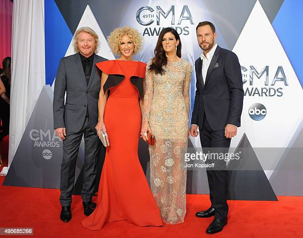 Musicians Phillip Sweet Kimberly Schlapman Karen Fairchild and Jimi Westbrook of Little Big Town attend the 49th annual CMA Awards at the Bridgestone...