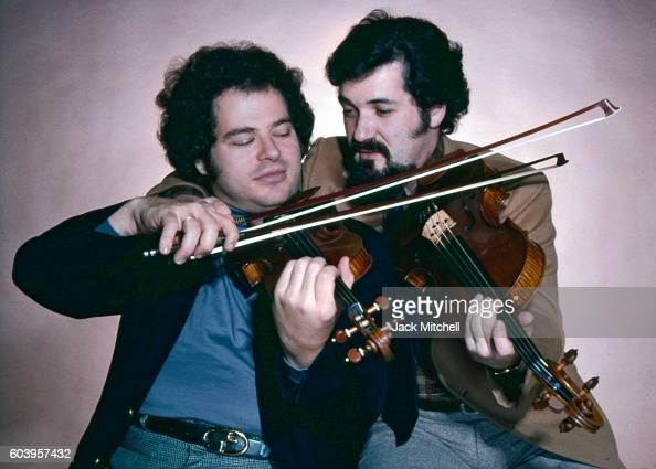 Musicians Pinchas Zukerman and Itzhak Perlman photographed in December 1979