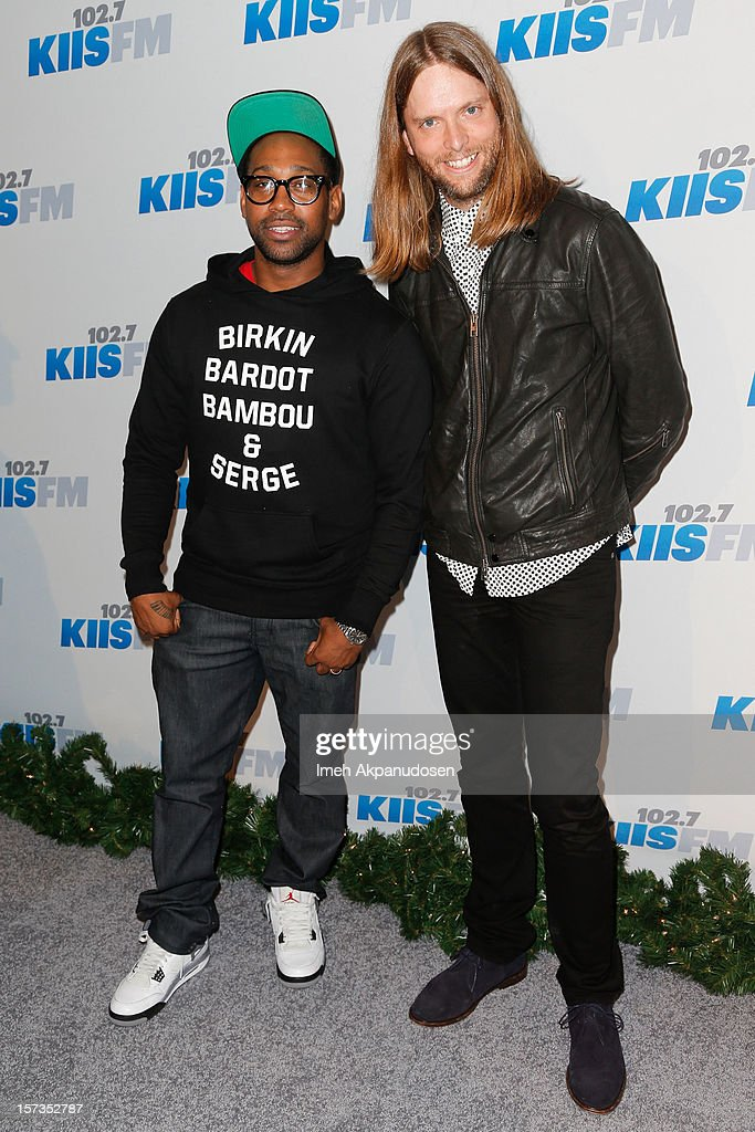 Musicians PJ Morton (L) and James Valentine of Maroon 5 attend KIIS FM's 2012 Jingle Ball at Nokia Theatre L.A. Live on December 1, 2012 in Los Angeles, California.