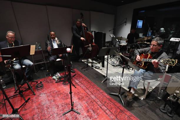 Musicians play as Wynton Marsalis and Jon Batiste perform the music of John Lewis at Spotify Studio for Jazz at Lincoln Center's Blue Engine Records...