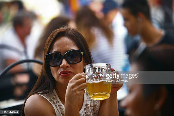 Musicians play at the Factoria Plaza Vieja microbrewery and restaurant on December 22 2015 in Havana Cuba The joint CubanAustrian venture serves...
