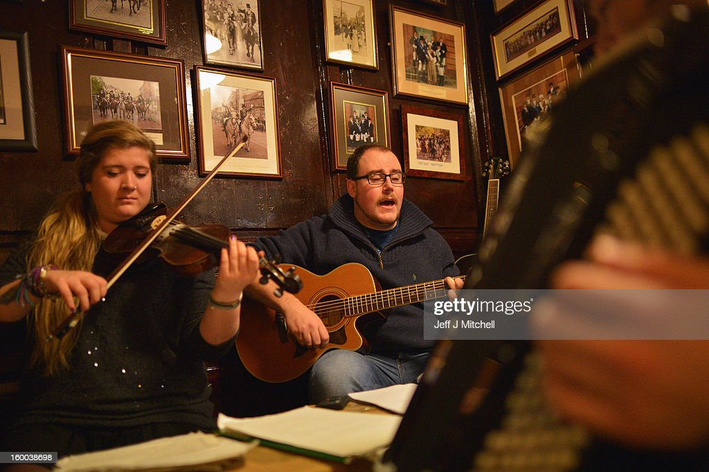 Musicians play in the Snug Bar at the Globe Inn, as part of events taking place to celebrate the birth of poet Robert Burn on January 25, 2012 in Dumfries, Scotland. Burns suppers will be held today to commemorate the life of the poet Robert Burns, who was born on this day in 1759.