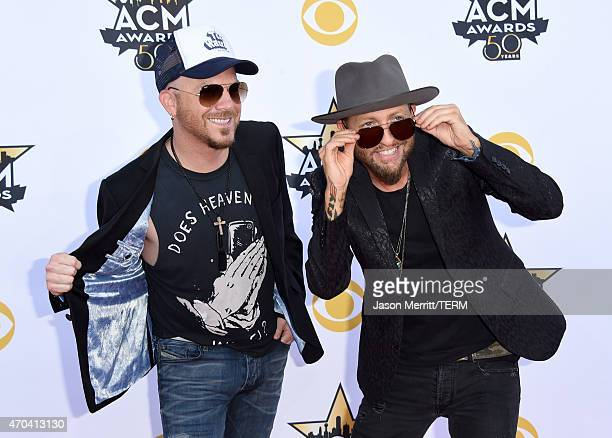 Musicians Preston Brust and Chris Lucas of LoCash Cowboys attend the 50th Academy of Country Music Awards at ATT Stadium on April 19 2015 in...