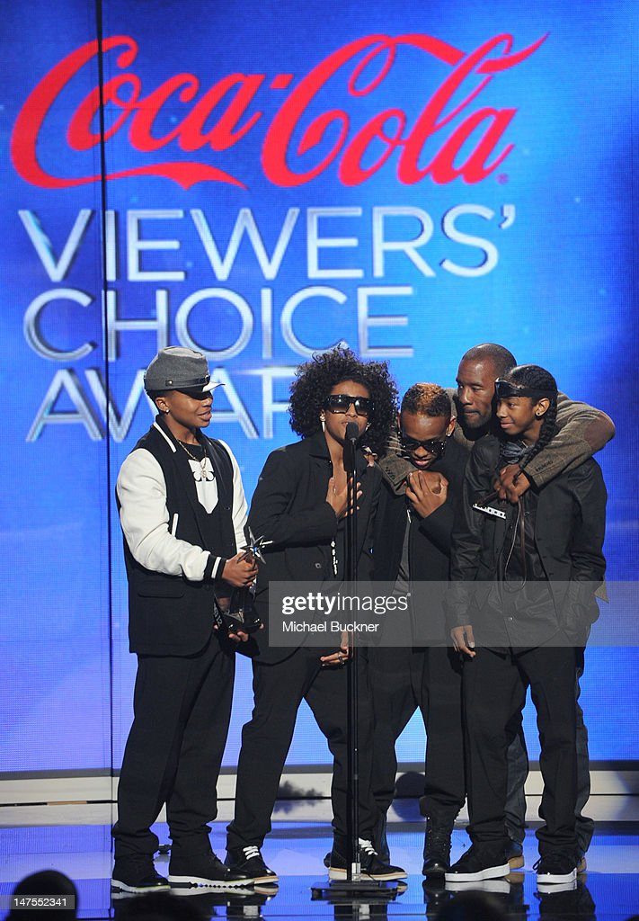 Musicians Princeton, Prodigy, Ray Ray and <a gi-track='captionPersonalityLinkClicked' href=/galleries/search?phrase=Roc+Royal&family=editorial&specificpeople=7301334 ng-click='$event.stopPropagation()'>Roc Royal</a> of Mindless Behavior accept the Coco-Cola Viewer's Choice Award onstage during the 2012 BET Awards at The Shrine Auditorium on July 1, 2012 in Los Angeles, California.