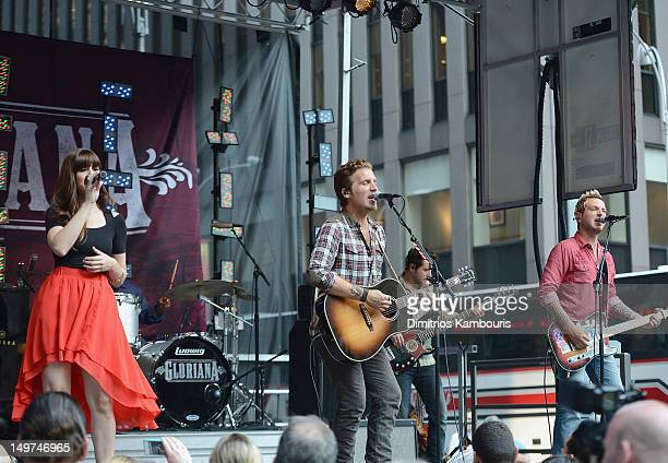 Musicians Rachel Reinert Tom Gossin and Mike Gossin perform during 'FOX Friends' All American Concert Series at FOX Studios on August 3 2012 in New...