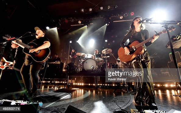 Musicians Ragnar Porhallsson and Nanna Bryndis Hilmarsdottir of Of Monsters and Men perform to benefit MusiCares at the El Rey Theatre on October 18...