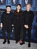 Musicians Ragnar Porhallsson Nanna Bryndis Hilmarsdottir and Brynjar Leifsson of Of Monsters and Men arrive at the premiere of HBO's 'Game of...