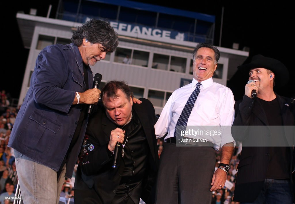 Musicians <a gi-track='captionPersonalityLinkClicked' href=/galleries/search?phrase=Randy+Owen&family=editorial&specificpeople=619729 ng-click='$event.stopPropagation()'>Randy Owen</a> and Meat Loaf sing with Republican presidential candidate, former Massachusetts Gov. <a gi-track='captionPersonalityLinkClicked' href=/galleries/search?phrase=Mitt+Romney&family=editorial&specificpeople=207106 ng-click='$event.stopPropagation()'>Mitt Romney</a> and musician <a gi-track='captionPersonalityLinkClicked' href=/galleries/search?phrase=John+Rich+-+Cantante&family=editorial&specificpeople=211184 ng-click='$event.stopPropagation()'>John Rich</a> during a campaign rally at Defiance High School on October 25, 2012 in Defiance, Ohio. <a gi-track='captionPersonalityLinkClicked' href=/galleries/search?phrase=Mitt+Romney&family=editorial&specificpeople=207106 ng-click='$event.stopPropagation()'>Mitt Romney</a> is campaigning in Ohio with less than two weeks to go before the election.
