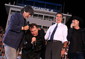 Musicians Randy Owen and Meat Loaf sing with Republican presidential candidate former Massachusetts Gov Mitt Romney and musician John Rich during a...