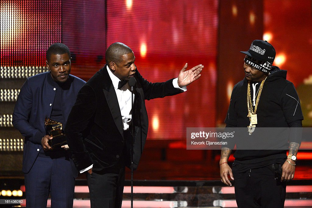 Musicians, rank Ocean, Jay-Z and The-Dream accept Best Rap/Sung Collaboration award for 'No Church in the Wild' onstage at the 55th Annual GRAMMY Awards at Staples Center on February 10, 2013 in Los Angeles, California.