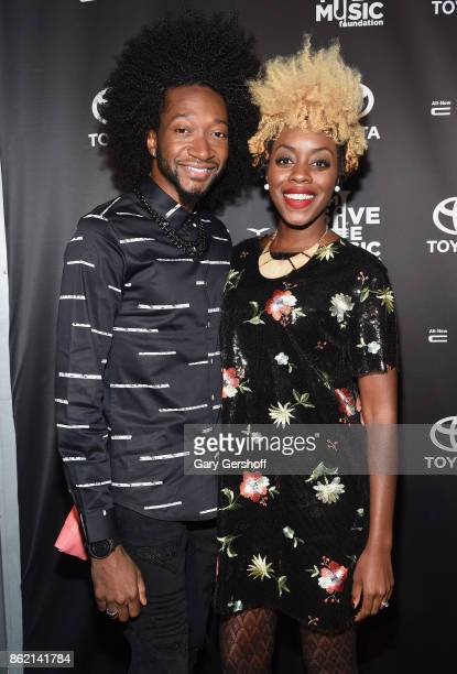 Musicians Raphael 'Raii' Smith and Whitney Keaton attends VH1 Save The Music Foundation #TurnItUpTo20 gala at SIR Stage37 on October 16 2017 in New...