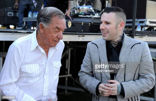 Musicians Ray Price and Nick 13 pose backstage during day 1 of Stagecoach California's Country Music Festival 2010 held at The Empire Polo Club on...