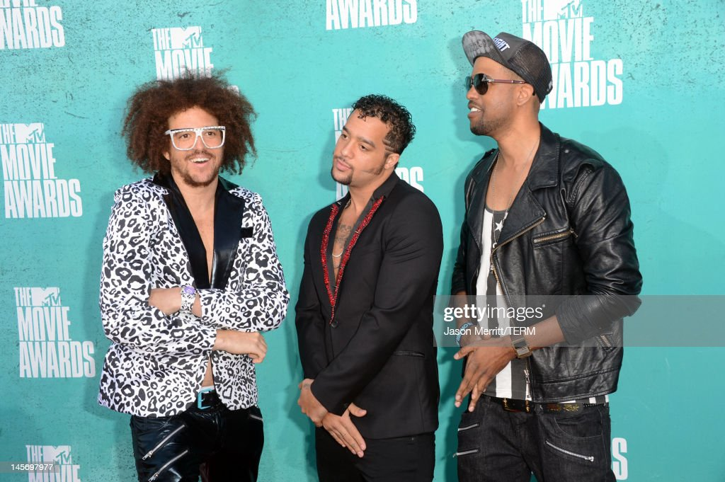 Musicians Red Foo, SkyBlu and Goonrock of LMFAO arrive at the 2012 MTV Movie Awards held at Gibson Amphitheatre on June 3, 2012 in Universal City, California.