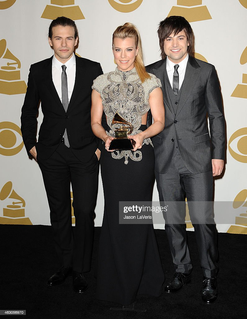 Musicians Reid Perry, Kimberly Perry and NeilPerry of The Band Perry pose in the press room at the 57th GRAMMY Awards at Staples Center on February 8, 2015 in Los Angeles, California.