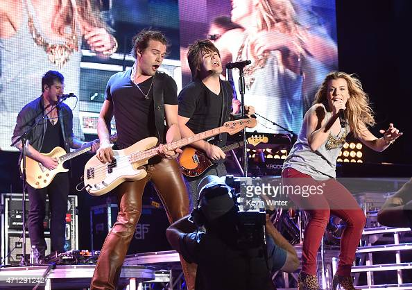 Musicians Reid Perry Neil Perry and Kimberly Perry of The Band Perry perform onstage during day three of 2015 Stagecoach California's Country Music...