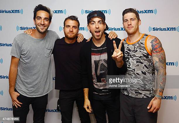 Musicians Rian Dawson Alex Gaskarth Jack Barakat and Zack Merrick from All Time Low visit the SiriusXM Studios on May 27 2015 in New York City