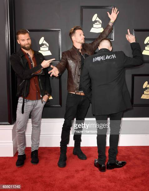 Musicians Rich Meyer Ryan Meyer and Johnny Stevens of Highly Suspect attend The 59th GRAMMY Awards at STAPLES Center on February 12 2017 in Los...
