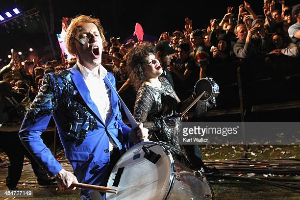 Musicians Richard Parry and Regine Chassagne of Arcade Fire perform during day 3 of the 2014 Coachella Valley Music Arts Festival at the Empire Polo...