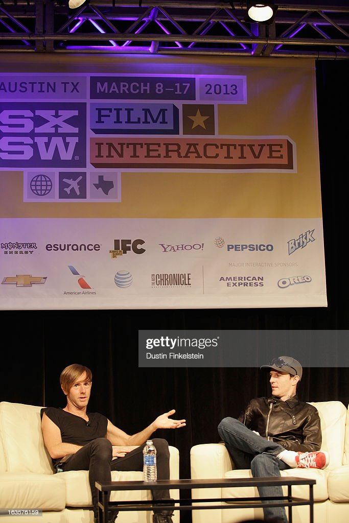 Musicians Richie Hawtin and deadmau5 speak onstage at <a gi-track='captionPersonalityLinkClicked' href=/galleries/search?phrase=Deadmau5&family=editorial&specificpeople=5701846 ng-click='$event.stopPropagation()'>Deadmau5</a> & Richie Hawtin: Talk. Techno. Technology. during the 2013 SXSW Music, Film + Interactive Festival at Austin Convention Center on March 12, 2013 in Austin, Texas.