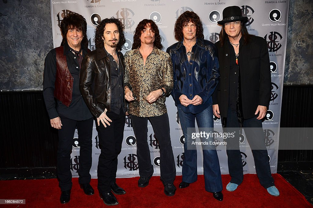 Musicians Richie Onori, Arlan Schierbaum, Joe Retta, Stuart Smith and Chuck Wright of the band Heaven and Earth arrive at the Heaven and Earth 'Dig' world premiere album release party at The Fonda Theatre on April 10, 2013 in Los Angeles, California.