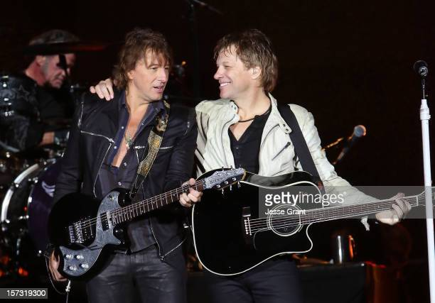 Musicians Richie Sambora and Jon Bon Jovi perfom during the MasterCard Priceless Los Angeles Presents GRAMMY Artists Revealed Featuring Bon Jovi at...