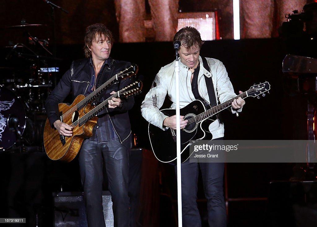 Musicians Richie Sambora and Jon Bon Jovi perfom during the MasterCard Priceless Los Angeles Presents GRAMMY Artists Revealed Featuring Bon Jovi at Paramount Studios on December 1, 2012 in Hollywood, California.