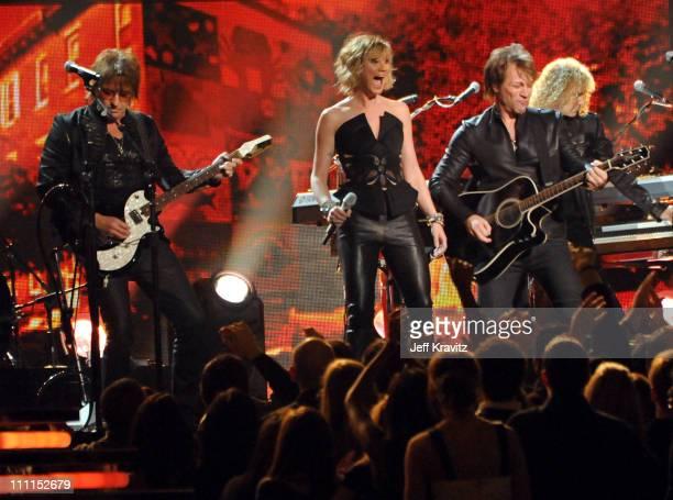 Musicians Richie Sambora Jennifer Nettles of the music group Sugarland and Jon Bon Jovi of the music group Bon Jovi perform onstage during the 52nd...