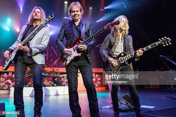 Musicians Ricky Phillips James 'JY' Young and Tommy Shaw of Styx perform on stage at Pechanga Casino on July 17 2016 in Temecula California