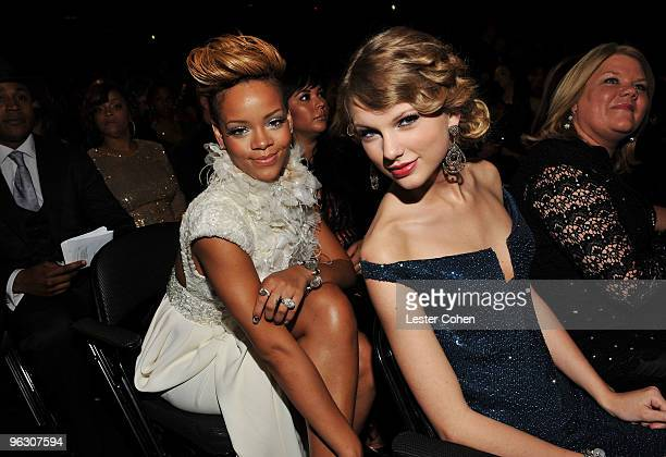 Musicians Rihanna and Taylor Swift attend the 52nd Annual GRAMMY Awards held at Staples Center on January 31 2010 in Los Angeles California