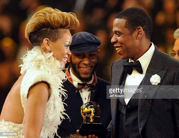 Musicians Rihanna Mos Def and JayZ onstage during the 52nd Annual GRAMMY Awards held at Staples Center on January 31 2010 in Los Angeles California