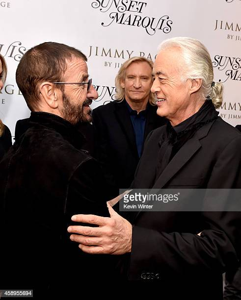 Musicians Ringo Starr Joe Walsh and Jimmy Page talk at a private reception and dinner for Jimmy Page to celebrate his new autobiography 'Jimmy Page...