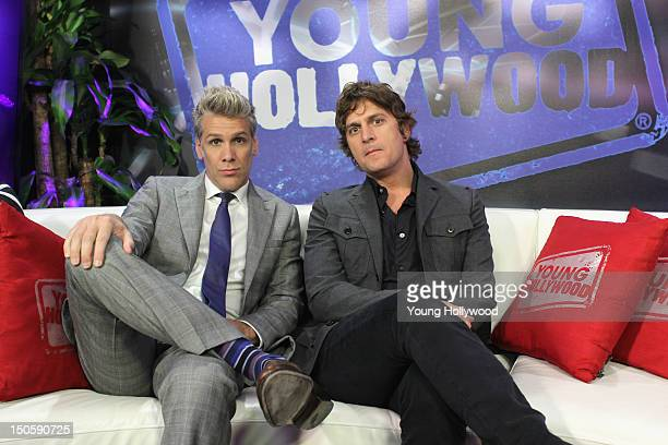 Musicians Rob Thomas and Kyle Cook of the band Matchbox Twenty visit the Young Hollywood Studio on August 22 2012 in Los Angeles California
