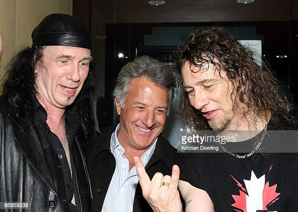 Musicians Robb Reiner and Steve Kudlow of Anvil and Dustin Hoffman at the premiere of Anvil The Story Of Anvil' at the Egyptian Theater on April 7...