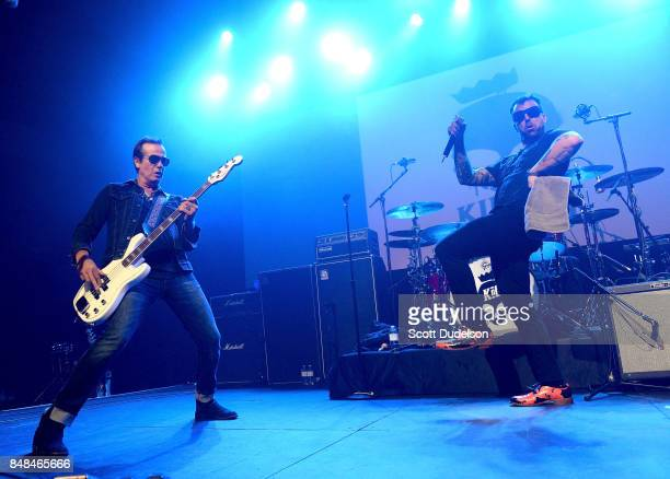 Musicians Robert DeLeo of Stone Temple Pilots and Franky Perez of Apocalyptica and Kings of Chaos perform onstage during the second annual Rock for...