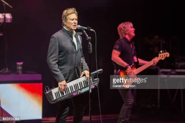 Musicians Robert Lamm and Jeff Coffey of Chicago perform on stage at San Diego Civic Theatre on September 3 2017 in San Diego California
