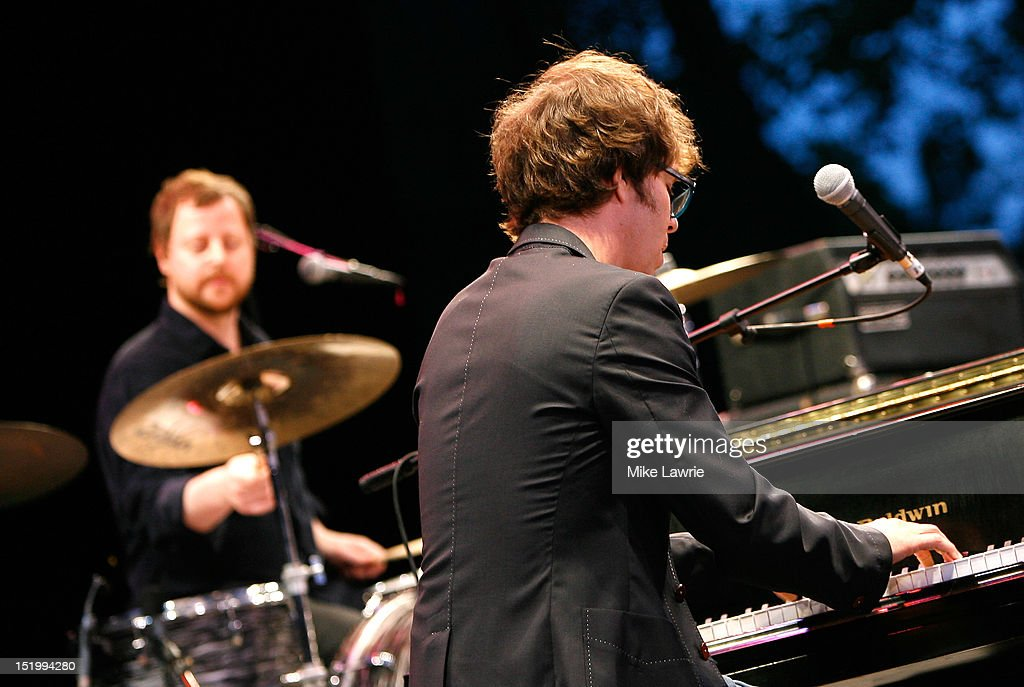 Musicians Robert Sledge (L) and Ben Folds of Ben Folds Five performs at SummerStage at Rumsey Playfield, Central Park on September 14, 2012 in New York City.