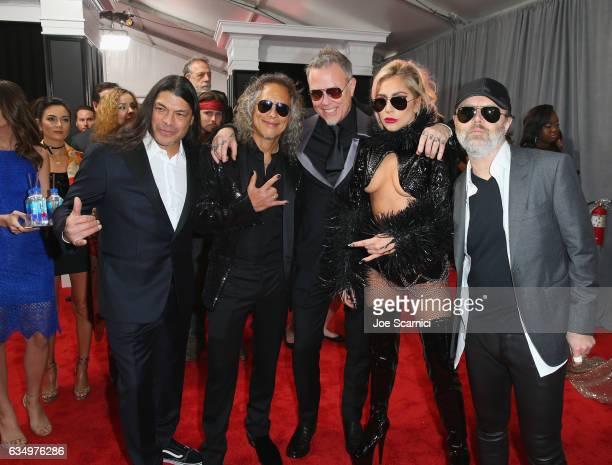Musicians Robert Trujillo Kirk Hammett James Hetfield Lady Gaga and Lars Ulrich at The 59th Annual GRAMMY Awards at STAPLES Center on February 12...