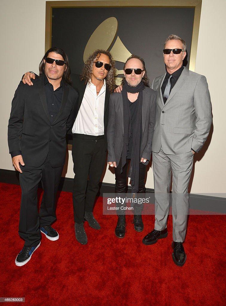 Musicians Robert Trujillo Kirk Hammett Lars Ulrich and James Hetfield attend the 56th GRAMMY Awards at Staples Center on January 26 2014 in Los...