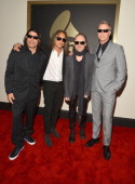 Musicians Robert Trujillo Kirk Hammett Lars Ulrich and James Hetfield attend the 56th GRAMMY Awards at Staples Center on January 26 2014 in Los...