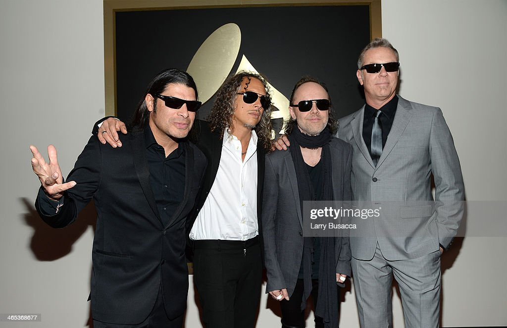 Musicians Robert Trujillo, Kirk Hammett, Lars Ulrich and James Hetfield of Metallica attend the 56th GRAMMY Awards at Staples Center on January 26, 2014 in Los Angeles, California.